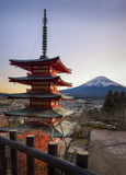 Red Chureito Pagoda and Fuji. Red Pagoda called Chureito Pagda, One of the most famous location for Fuji sightseeing on the mountain in Fujiyoshida Japan Royalty Free Stock Image