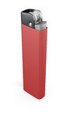 Red cigarette lighter  on white background. 3d rendering.  Royalty Free Stock Photo