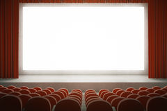 Red cinema with blank screen. Movie theater with rows of red seats and large blank screen with curtains. Mock up, 3D Rendering Stock Image