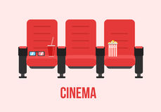 Red Cinema chairs vector illustration Royalty Free Stock Photo