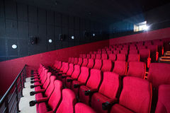 Red cinema empty hall Stock Photography
