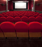 Red cinema empty projection screen Royalty Free Stock Photos