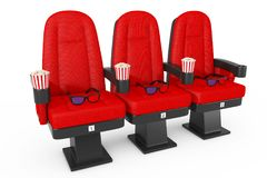 Red Cinema Movie Comfortable Chairs with Popcorn and 3d Glasses. Red Cinema Movie Comfortable Chairs with Popcorn and 3d Glasses on a white background. 3d royalty free illustration