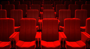 Red Cinema Seats. 3d picture of red cinema seats Royalty Free Stock Photography