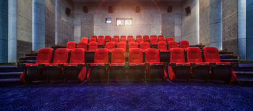 Red cinema seats. Drama  concert  chair  indoor, no Stock Photography