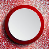 Red circle button on red sequin background. Vector abstract background. Red circle button on red sequin background royalty free illustration