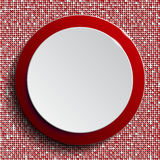 Red circle button on red sequin background. Royalty Free Stock Images