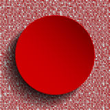 Red circle button on red sequin background. Stock Photo