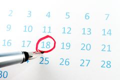 Red circle on calendar Royalty Free Stock Photo