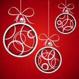 Red circle christmas balls. Christmas card Royalty Free Stock Image
