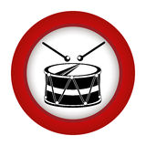 Red circle with drum and drum stick Stock Photo