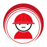 Red circle frame with firefighter. Vector illustration Royalty Free Stock Photography