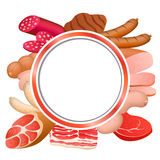 Red circle frame food background meat sausage illustration. Vector Royalty Free Stock Photos