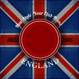 Red circle frame for your lable on british flag grunge background Royalty Free Stock Photography