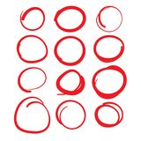 Red Circle Grading Marks with Swoosh Feel - Marking up Papers. Red Circle Grading Marks with Swoosh Feel - Marking up  the Papers Royalty Free Stock Images