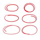 Red Circle Grading Marks with Swoosh Feel - Marking up Papers. Red Circle Grading Marks with Swoosh Feel - Marking up  the Papers Royalty Free Stock Photos