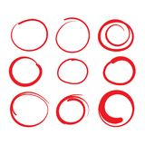 Red Circle Grading Marks with Swoosh Feel - Marking up Papers. Red Circle Grading Marks with Swoosh Feel - Marking up  the Papers Royalty Free Stock Photography