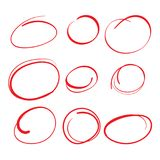 Red Circle Grading Marks with Swoosh Feel - Marking up Papers. Red Circle Grading Marks with Swoosh Feel - Marking up  the Papers Stock Photography