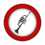 Red circle with gray trumpet Stock Image