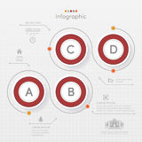 Red Circle Infographics design template with icons, process diag Stock Image