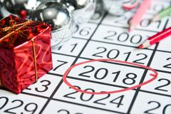 Mark on number of the new years at 2018. Royalty Free Stock Photo