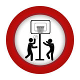 Red circle with men playing basketball. Vector illustration Royalty Free Stock Photo