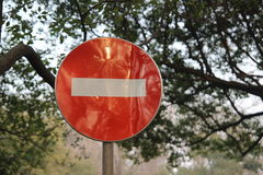 Red circle no parking sign Stock Photography