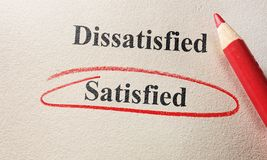 Red circle satisfied. Satisfied in red circle with pencil on textured paper Stock Image