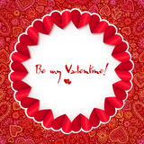 Red circle Valentines day greeting card template Stock Photo