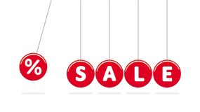 Sale. Red Swing Vector Balls. Newton`s Cradle. Shadow Below. White Text. White Background. Vector Discount Symbol. vector illustration