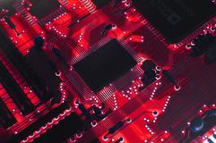 Red Circuit board. On light box royalty free stock photography
