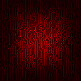 Red circuit board abstract vector background. Stock Photo