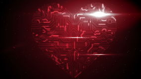 Red circuit board heart with light stock video