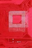 Red circuit board texture background of computer motherboard Royalty Free Stock Images
