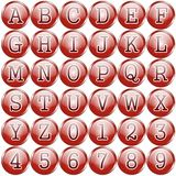 Red circular alphabet buttons Stock Images