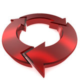 Red Circular Arrow. A Colourful 3d Rendered Circular arrow Illlustration Royalty Free Illustration