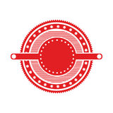 Red circular art deco emblem with stars. Vector illustration Royalty Free Stock Photography