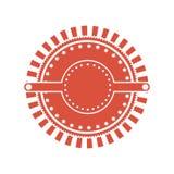Red circular art deco emblem. Vector illustration Stock Photo