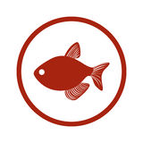 Red circular border with fish. Illustration Stock Images