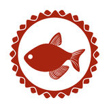 Red circular border stamp with fish. Red stamp border with fish  illustration  illustration Stock Photos
