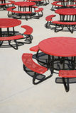 Red Circular Cafeteria Tables Royalty Free Stock Images