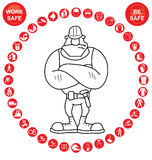 Red circular Health and Safety Icon collection Stock Photo