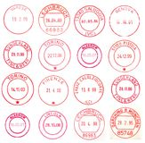 Red and circular postmarks Stock Photography