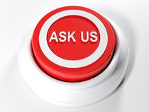 ASK US red push button - 3D rendering. A red circular push button with the write ASK us on its top  - 3D rendering illustration Stock Photo
