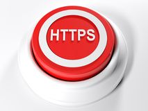 HTTPS red circular push button - 3D rendering. A red circular push button with the write HTTPS on its top - 3D rendering illustration Royalty Free Stock Photo