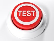 TEST red circular push button - 3D rendering. A red circular push button with the write TEST on its top - 3D rendering illustration Royalty Free Stock Image