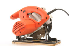 Red circular saw Royalty Free Stock Image