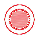 Red circular stamp abstract art deco emblem. Vector illustration Stock Image