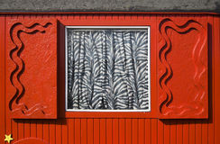 Red circus trailer. Window with shutters  on a red circus trailer Stock Images