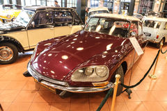 Red Citroen DS. ISTANBUL, TURKEY - JULY 29, 2016: Citroen DS in Rahmi M. Koc Industrial Museum. Citroen DS was the first production car equipped with disc brakes Stock Photo